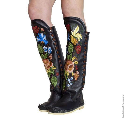 Обувь ручной работы. Ярмарка Мастеров - ручная работа. Купить Зимние высокие сапоги LORENZI черные /39 в наличие.. Handmade.