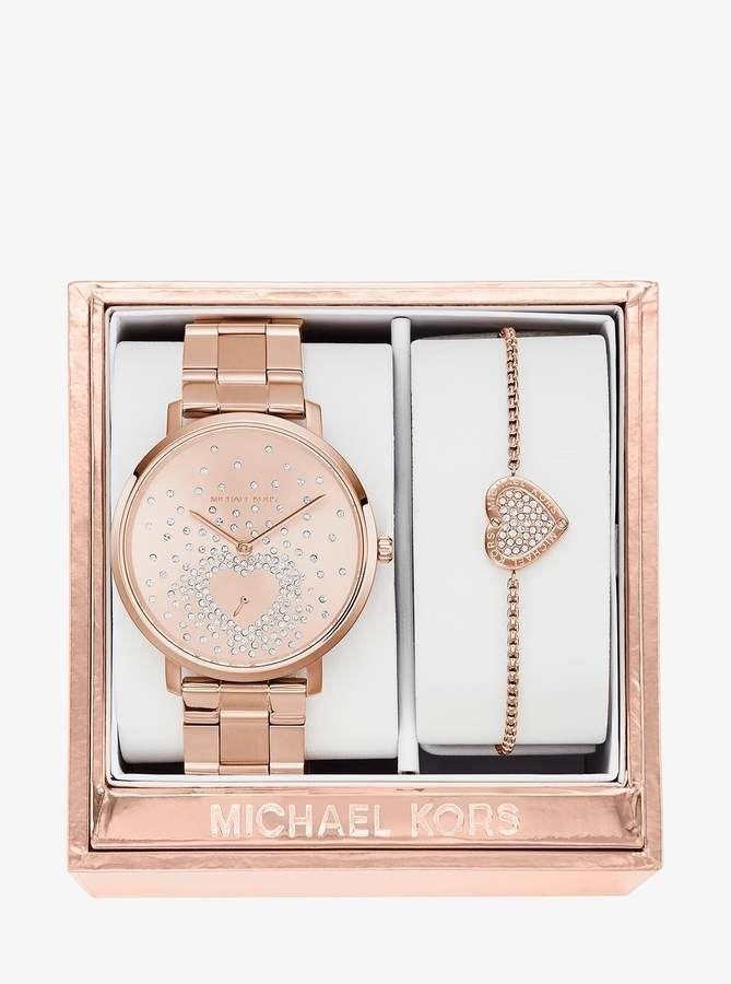 7f538b48fd60 Michael Kors Jaryn Rose Gold-Tone Watch and Bracelet Set