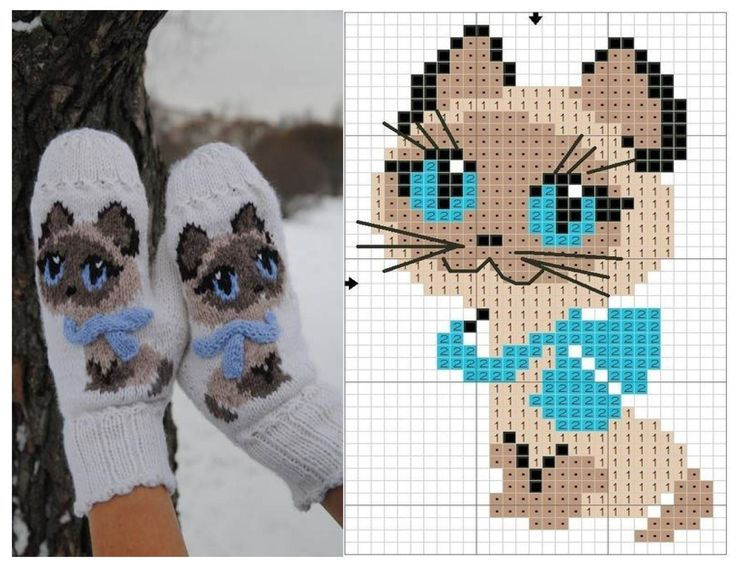This is totally cute and I reckon I could knit those little cats all over a…