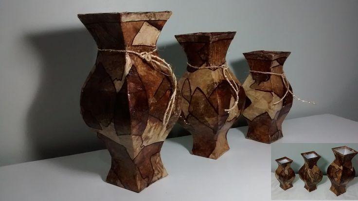 Conjunto de 3 vasos feito com caixa de leite e filtro de café!