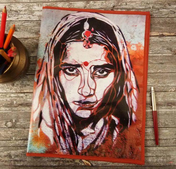 Porte documents / classeur souple graffiti Femme indienne en toile vinyle imprimée de la boutique rougemadras sur Etsy