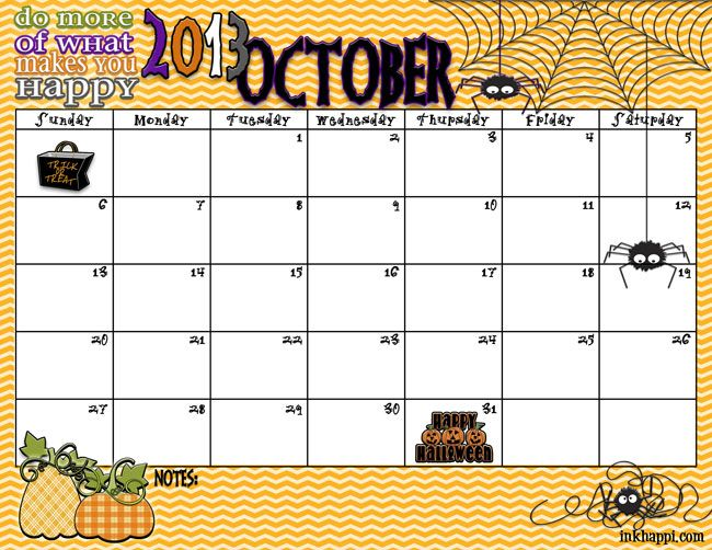 Spooky October 2013 Calendar free printable from inkhappi.com- Click the download link under each image!- save as!