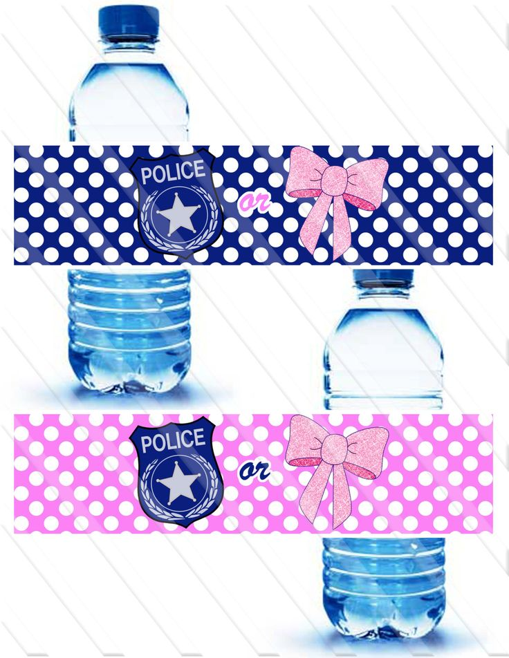 Badges or Bows Gender Reveal  Party Water Bottle Labels Instant Download by…