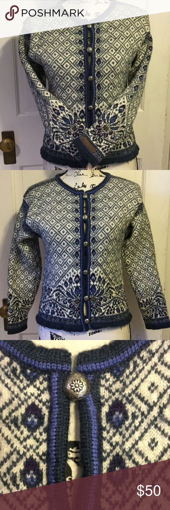 "Dale Of Norway, Fair Isle , sweater, S, 100% wool EUC, Dale of Norway 🇳🇴 casual, fits like XS, Icelandic Design, cardigan, made with 100% new wool. 21"" L, 34"" chest , 19"" sleeves. Gorgeous and thick. Beautiful silver buttons. Dale of Norway Sweaters Cardigans"