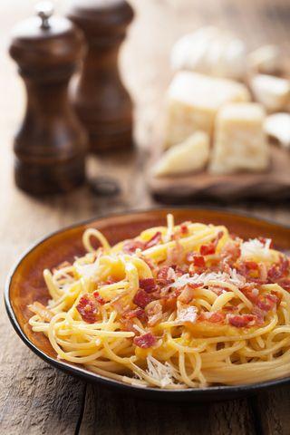 Spaghetti carbonara Oppskrift 4 porsjoner 400 g spaghetti 200 g smårettbacon 200 g parmesan, revet 4 eggeplommer 2 1/2 dl kremfløte salt og nykvernet pepper Kok pastaen etter anvisning. Stek baconet. Pisk egg