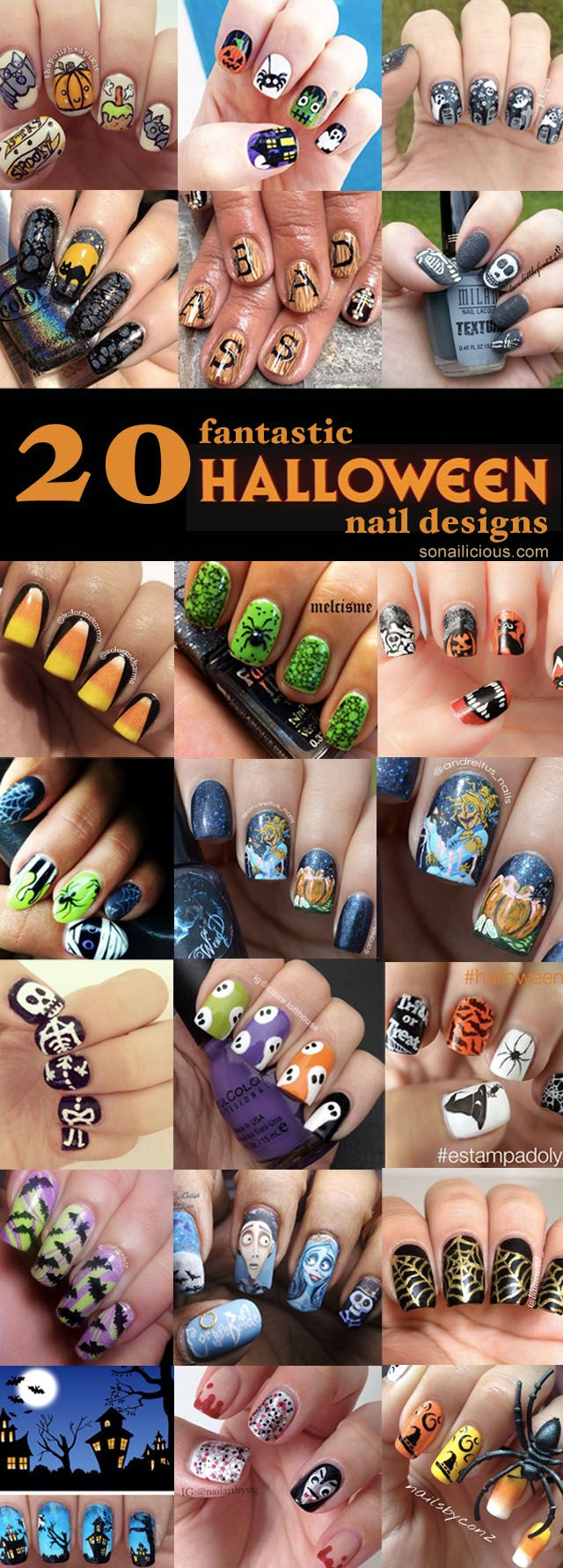 The 20 Halloween nail designs presented today are done by SoNailicious readers. From cute Halloween nails to scary, all great nail designs in one place...