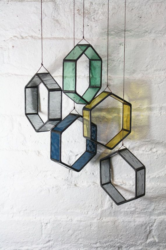 Stained Glass MINI HEX Elements set of 5 by BespokeGlassTile