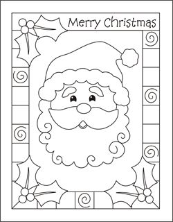 Christmas coloring cards for kids - printable free coloring cards - Santa - Christmas coloring pages