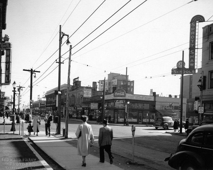 Robson Street, south side looking east from Howe Street, 1948. #vintage #Vancouver