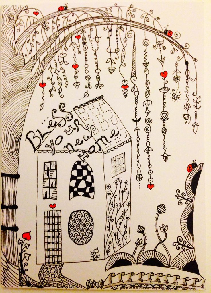 Zentangle Zenspiration Dangles Doodle New Home Card By