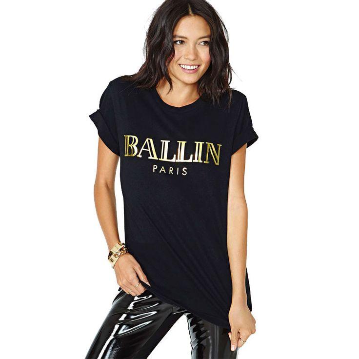 Summer Fashion Women T Shirts Letter BALLIN Bronzing Print Tops Tees Black O-neck Volumes Sleeve T-shirt High Street Cloth