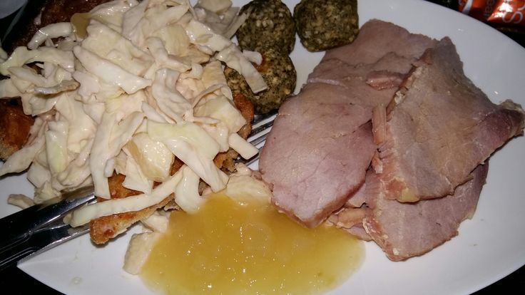 Honey roast gammon, with homemade cabbage n apple coleslaw, giant Yorkshire pud n stuffing balls.