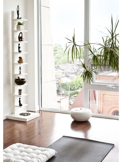 Love that simple shelf for a little collection!  Contemporary Home Gym by Palmerston Design Consultants