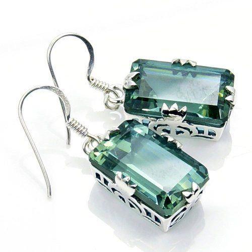 Incredible Color Change (Green to Purple) Alexandrite & Sterling Silver Dangle Earrings
