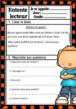 Passages For Grade 5 - french reading comprehension worksheets grade ...