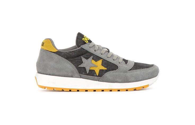 Sneaker 2 Two Star uomo 2su1504 running grigio giallo spring summer 2017