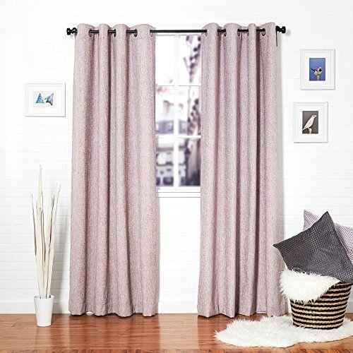 Homier tweed linen blend window curtain drape panel treatment silver
