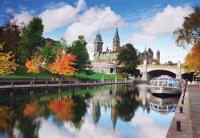 The Rideau Canal, which joins Lake Ontario with the Ottawa River. It becomes the world's longest skating rink in the winter.