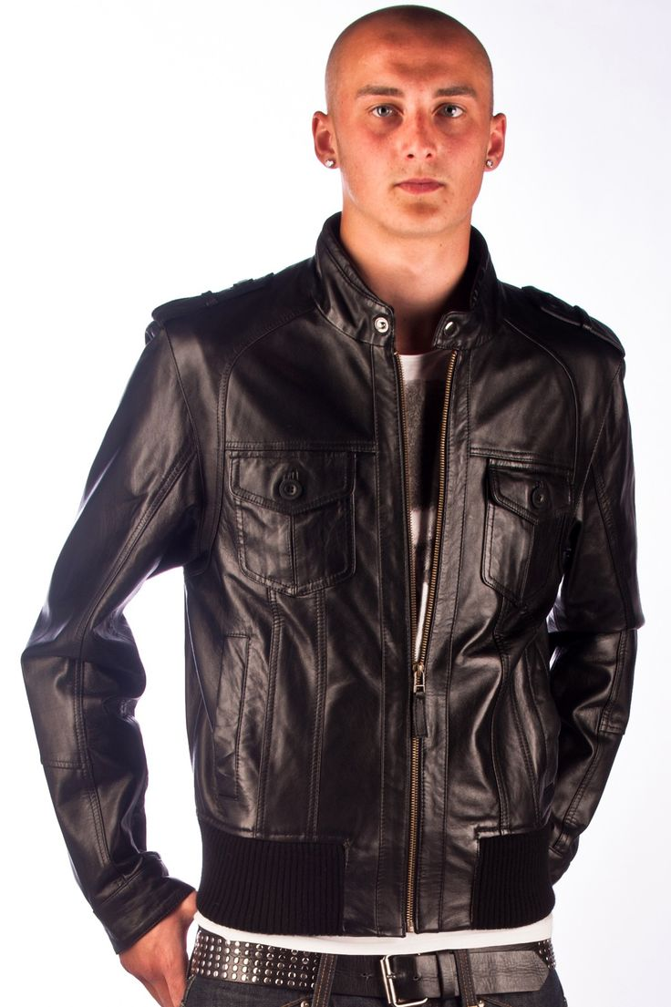 Mens Black Leather Biker Jacket Miami