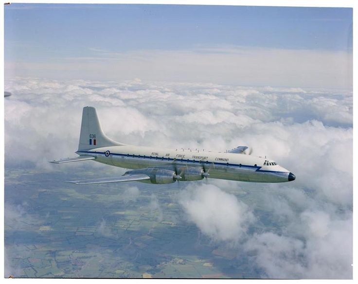 The first Bristol Britannia C.1 in RAF service, XL636 'Argo' of No. 99 Squadron during a flight from its base of RAF Lyneham, Wiltshire, shortly after the aircraft was delivered in June 1959.