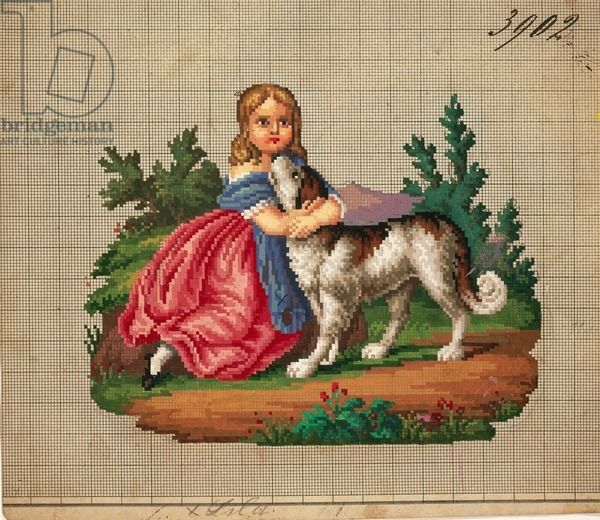 Little girl with dog embroidery design, 19th century