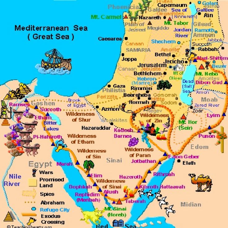 OLD TESTAMENT MAP OF PROMISE LAND (INCLUDING GAZA)