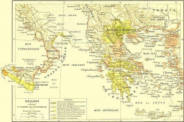 Carte de l'Hellade pendant la Guerre du Péloponnèse