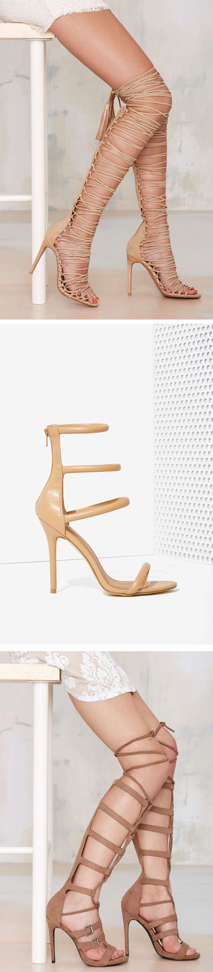 United we stand—in sky-high strappy heels, that is. Get HEEL(ed) at Nasty Gal in knee-high gladiators, open-toe stilettos and more!