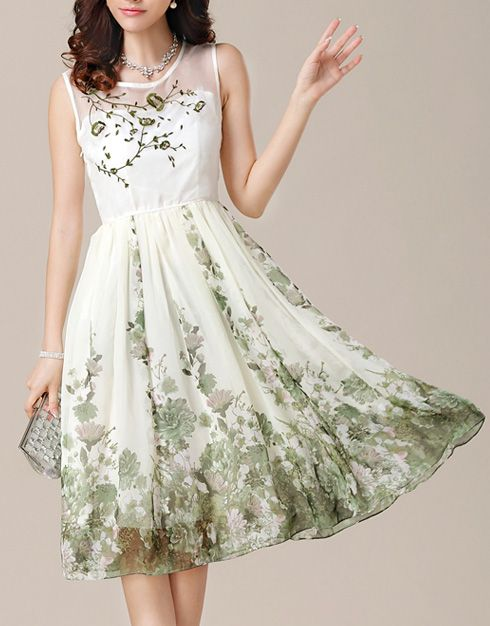 Green Flower Embroidery Floral Print Dress