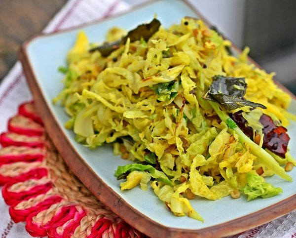 Cabbage Poriyal from Healthy South Indian Cooking