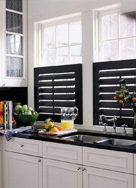17 best images about window treatment looks on pinterest window treatments plantation shutter for Black window shutters interior