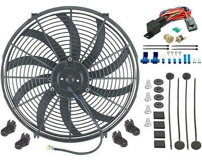 "16"" Inch Electric 12 Volt Radiator Fan & 180'F Thermostat Kit 3/8"" Inch Npt Plug"