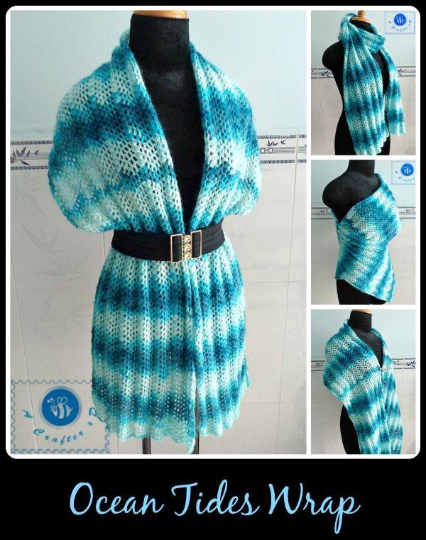 Crochet Ocean Tides wrap - Maz Kwok's Designs