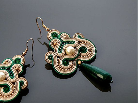 Beige green soutache earrings with Jadeite. by ANBijou on Etsy