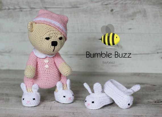 Sleepy Bear  Teddy Bear with Removable Bunny by BumbleBuzzBaybeez