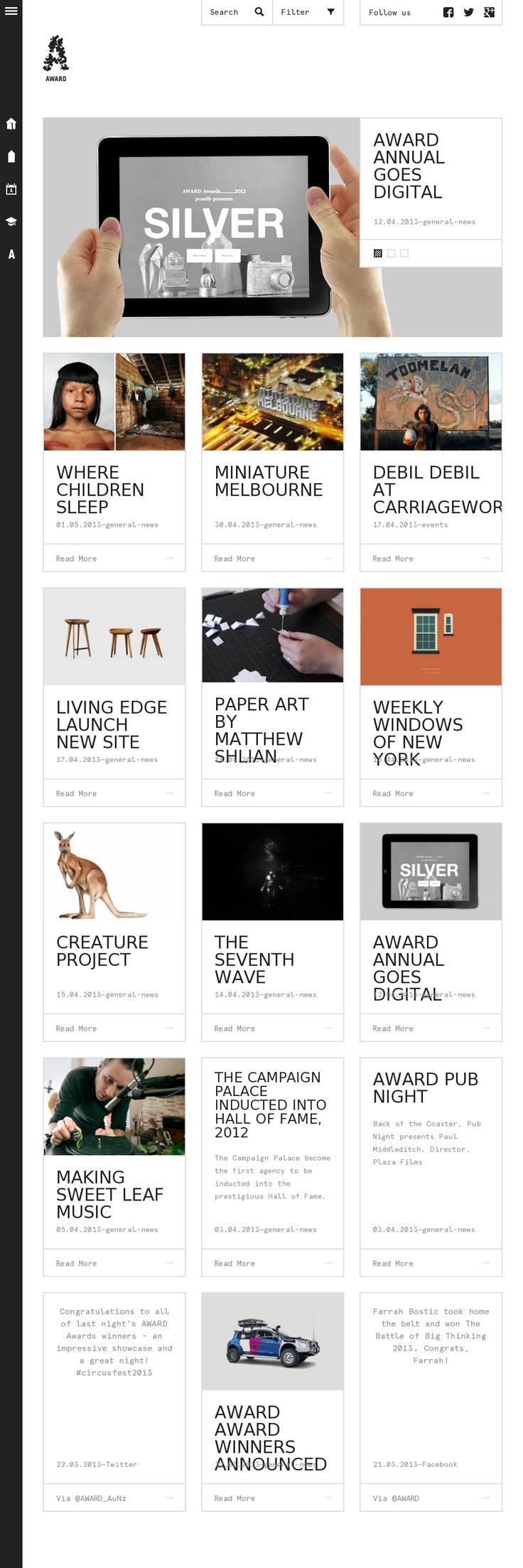 Award Online Digital Magazine: Grid based website layout design https://www.domainki.com