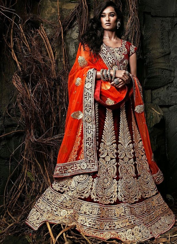 Orange & Maroon Wedding Lehenga from Shree Designer Sarees