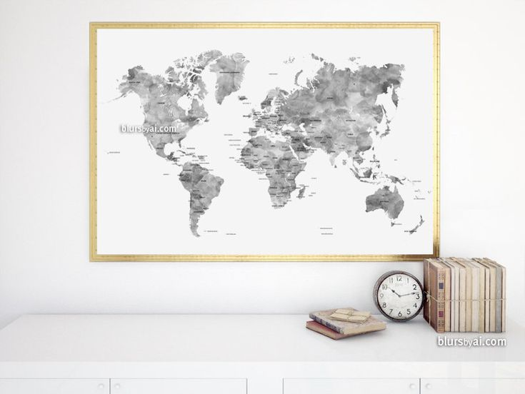 The 25 best world maps with countries ideas on pinterest show 36x24 map black and white watercolor world map printable grayscale world map with gumiabroncs Choice Image