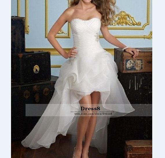 Fashion blanc/ivoire courte plage mariage robe mariée par DRESS8, $109.00