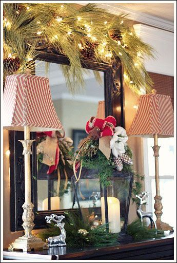 Elegant Christmas Decorating Ideas- decorated buffet!
