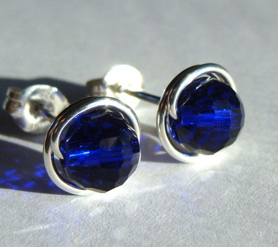 6mm Cobalt Blue Sparkly Post Earrings Wire by phoebestreasure