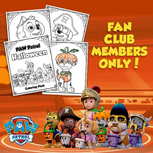 Get A PAW Patrol Halloween Coloring Pack When You Sign Up