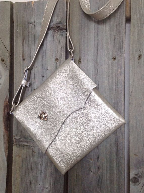 Metallic Silver Leather Side Bag with Raw Edge Flap & Floral Heart Concho by HeartnSoulHandbags, $140.00