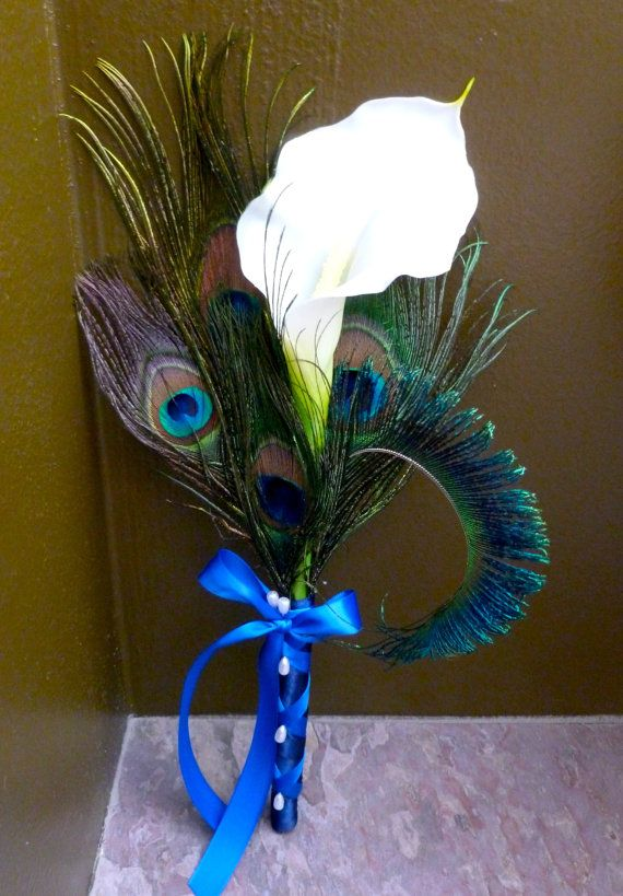 Bridesmaids calla lily peacock feather bouquet, customize to match your wedding colors  Ask a Question $23.00