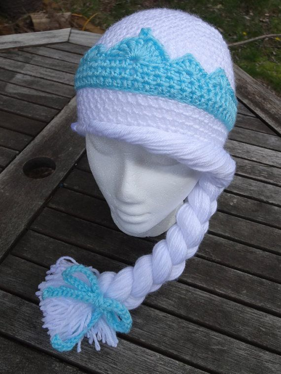 Elsa of Arendelle Frozen Crocheted Hat Pattern by HHCrafts on Etsy