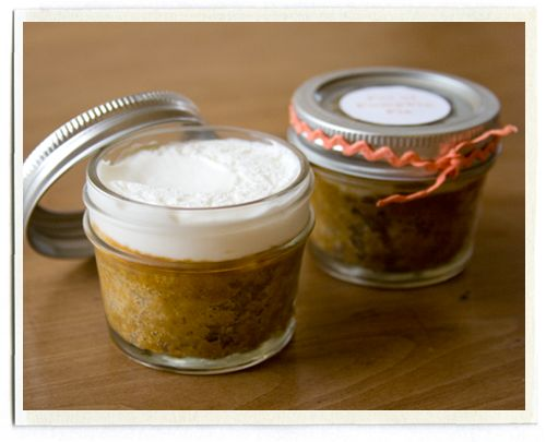pumpkin pie in a jar  (i've been collecting baby food jars for baking mini treats in)