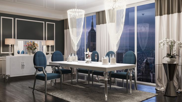 """A&X Baccarat Transitional White Crocodile Dining Set. The A&X Baccarat Transitional White Crocodile Dining Set exudes stylishness and class featuring an eye-catching white crocodile textured lacquer finish. Both dining table and buffet feature art deco crystal legs, while the dining chairs feature an airy design at the back and black fabric upholstered seats and back. Requiring some assembly, this transitional dining set has the following dimensions:  dining table: 87"""" x D44"""" x H31""""…"""