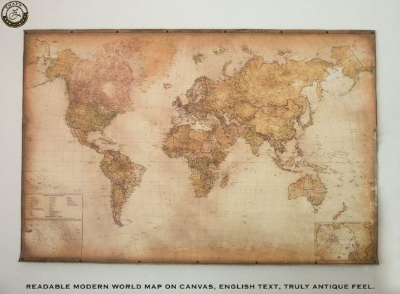 Modern World Map Canvas. NEW Modern world map English text Antique style canvas by Zmaps 97 best Best wall maps from the old  images on