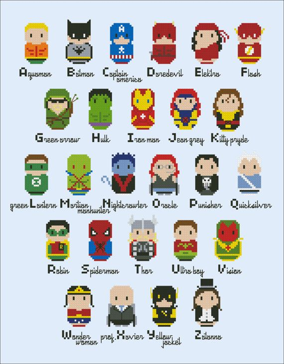 Superheroes parody alphabet sampler Cross stitch por cloudsfactory