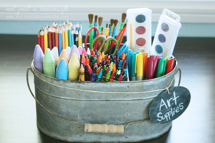 Great metal caddy to store kids art supplies.
